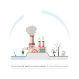 Ecological problems: environmental pollution. Vector concept in flat design and monochromatic colors. Factory building pouring wastes. White background Stock Photography