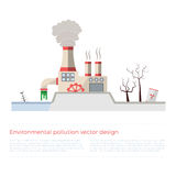 Ecological problems: environmental pollution. Vector concept in flat design and monochromatic colors. Factory building pouring wastes. White background Stock Images