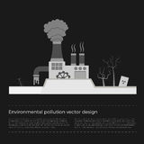 Ecological problems: environmental pollution. Vector concept in flat design and monochromatic colors. Factory building pouring wastes. Black background Royalty Free Stock Images