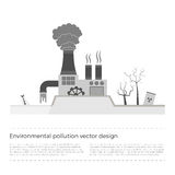 Ecological problems: environmental pollution. Vector concept in flat design and monochromatic colors. Factory building pouring wastes. White background Royalty Free Stock Photo