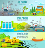 Ecological Problems Horizontal Banners Stock Photography