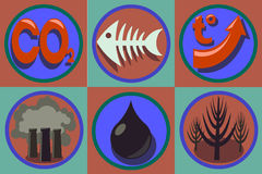 Ecological problems icon set. World pollution, global warming. Stock Photos