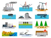 Ecological problems in nature. Harmful effects of human activity on environment, air, water, soil pollution with man-made waste. Vector flat style cartoon vector illustration