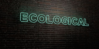 ECOLOGICAL -Realistic Neon Sign on Brick Wall background - 3D rendered royalty free stock image. Can be used for online banner ads and direct mailers Royalty Free Stock Photos