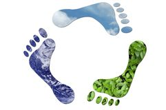 Ecological recycle sign in the shape of feet Royalty Free Stock Images