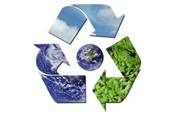 Ecological recycle sign surrounding Earth Royalty Free Stock Photography
