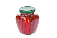 Ecological red hot chilli pepper paprika preserved canned in glass pot Royalty Free Stock Photography