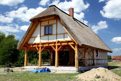 Ecological rural wooden house Stock Photo