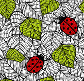 Ecological seamless pattern with green leaves and red bugs. Vector endless illustration Stock Images