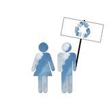 Ecological sky couple. A couple made up of blue sky with white clouds to symbolize environmental issues. The couple is holding up a picket sign with a recycling Stock Image