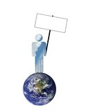 Ecological sky man holding blank picket sign. A man made up of blue sky with white clouds is holding a blank picket sign with room for copy to symbolize Royalty Free Stock Photography