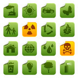 Ecological stickers. Ecological  symbols on round stickers Royalty Free Stock Photos