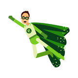 Ecological superhero man in green costume flying through the air in superhero pose with outstretched hand, eco concept  Illu Royalty Free Stock Image