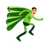 Ecological superhero man in green costume running, eco concept  Illustration Royalty Free Stock Photos