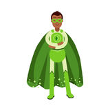Ecological superhero man in green costume standing with folded arms, eco concept  Illustration Royalty Free Stock Photography