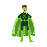 Ecological superhero man standing with hands on his waist, eco concept Illustration stock illustration