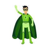 Ecological superhero man standing and waving his hand, eco concept  Illustration Stock Image