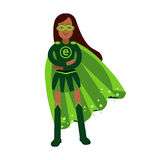 Ecological superhero woman standing with folded arms, eco concept  Illustration Stock Photography