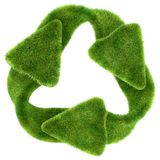 Ecological sustainability: green grass recycling symbol. On white stock illustration