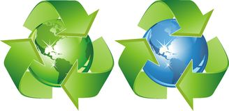 Ecological symbol - earth surrounded with green arrows. Sign protection ekosistemy our planet. Stock Image