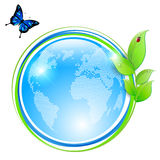 Ecological symbol - shiny abstract globe and green leaves. With water drops, ladybug and blue butterfly. Vector illustration Royalty Free Stock Photography