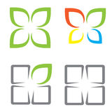 Ecological symbols. Leaves window and butterfly stock illustration