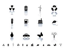 Ecological symbols icon set Stock Images