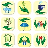Ecological symbols set Royalty Free Stock Images