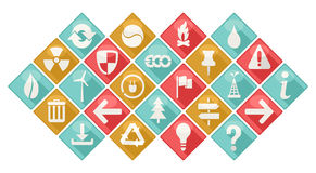 Ecological Theme Icons Set. Set of icons ecological theme in flat design style. Collection of long shadow icons Stock Images