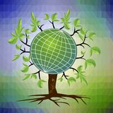 Ecological theme - tree with a globe in branches on the trendy triangle background in green and blue Royalty Free Stock Image