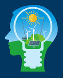 Ecological thinking green energy. Royalty Free Stock Images