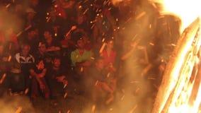 Ecological tourism festival,campfire. stock video