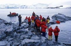 Ecological tourists landing at Paradise Harbor, Antarctica Royalty Free Stock Image