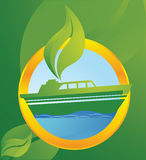 Ecological transport. Ship running on bio energy Stock Photo