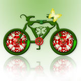 Ecological Transport. Romantic Green Bicycle and Yellow Tender Butterfly over Green Background Royalty Free Stock Image