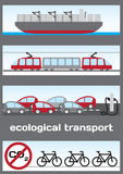 Ecological transport - ship, electric train, elect. Ric cars and bicycle Stock Photos