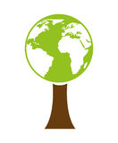 ecological tree with planet earth isolated icon design Royalty Free Stock Photo