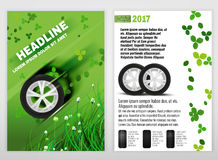 Ecological Tyre Brochure. Vector ecological tyre leaflet template. Modern idea for flyer, book, booklet, brochure and poster design. Editable graphic layout with Royalty Free Stock Photos
