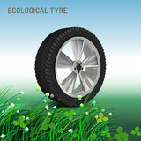Ecological Tyre Image. Editable vector illustration in bright colours in realistic style stock illustration