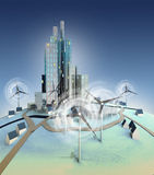Ecological urbanism powered with windmills general view. Illustration Royalty Free Stock Photos
