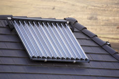 Ecological vacuum solar tube collectors. In wilderness Stock Photos