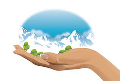 Ecological vector illustration of snow-capped mountains on hand. Snow-capped mountains on hand - vector illustration Royalty Free Stock Photos