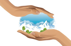 Ecological vector illustration of two hands protecting the environment. Two hands protecting the environment - vector illustration Royalty Free Stock Photos