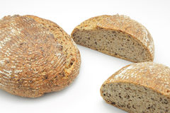 Ecological wheat and rye bread isolated on white Royalty Free Stock Image