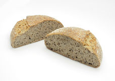 Ecological wheat and rye bread with sesame seeds, flax and sunflower seeds Royalty Free Stock Photography
