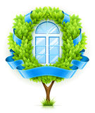 Ecological window concept with green tree. Vector illustration isolated on white background EPS10. Transparent objects used for shadows and lights drawing Royalty Free Stock Image