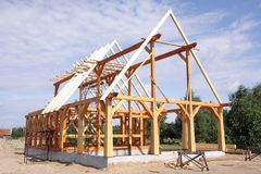 Ecological Wooden House Royalty Free Stock Photography