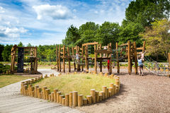 Ecological wooden playground stock image