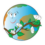 Ecological world happy. Illustration that shows our planet happy because it is surrounded by a wonderful flowering plant Royalty Free Stock Photo