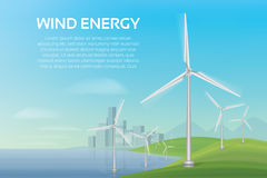An ecologically clean beach and a city with wind turbines. royalty free illustration